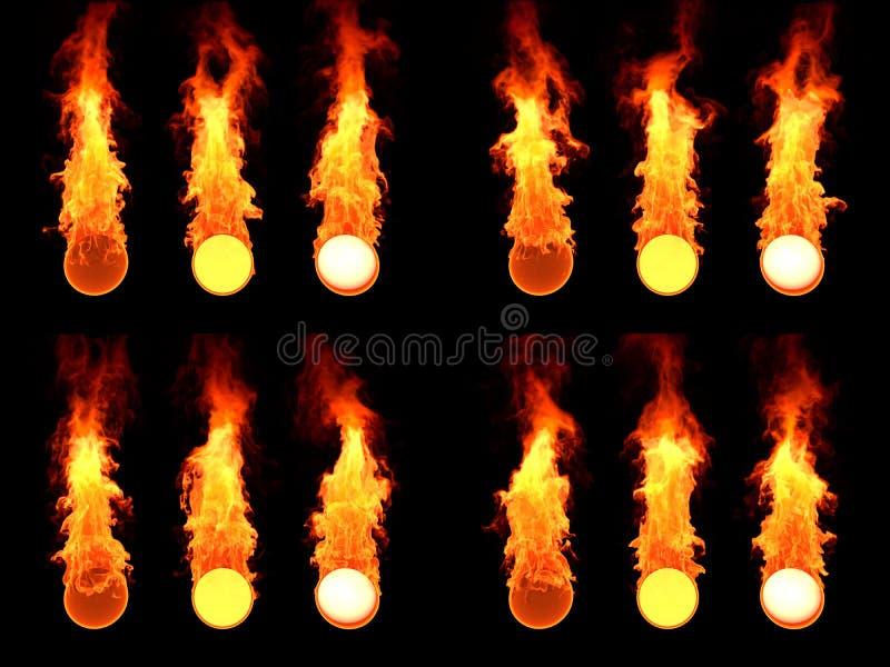 Sfär i brand Många version arkivfoton