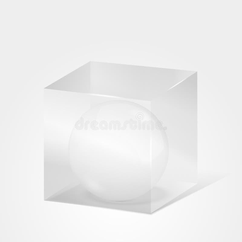 Sfär i kub stock illustrationer