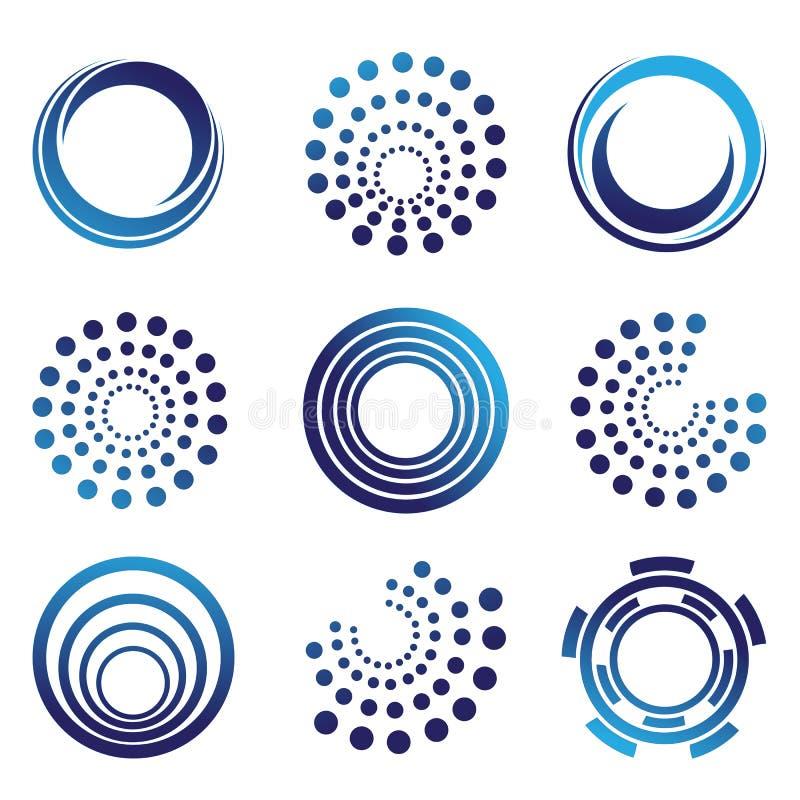 Sfär logo, jordklot, våg, cirkel, runda, teknologi, uppsättning för symbol för världssymboldesign stock illustrationer