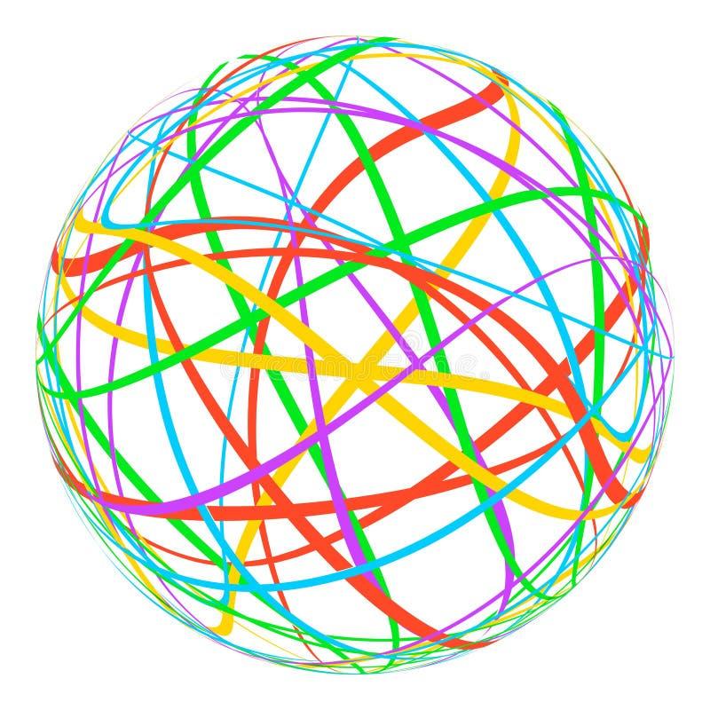 Sfär med kulöra linjer band runt om omloppregnbågen, vektorplanetslingor av det olika färgbögjordklotet vektor illustrationer
