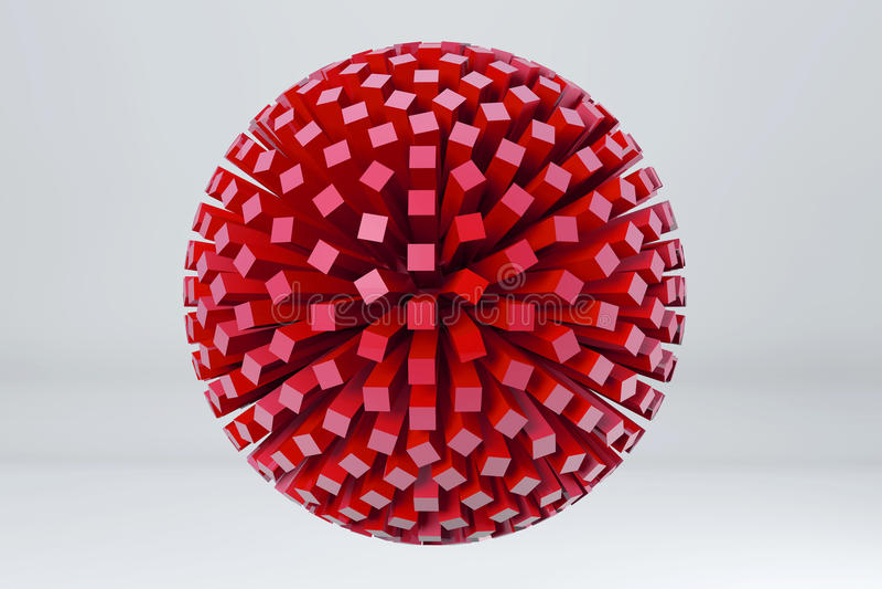 Sfär som göras av röda kuber 3d framför image royaltyfri illustrationer