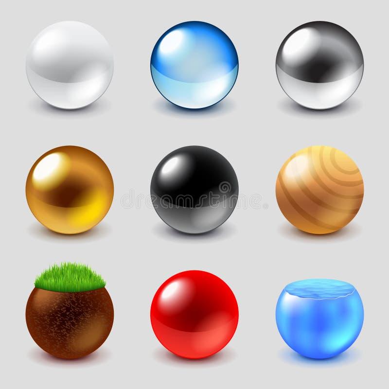 Sfärer från olik uppsättning för materialsymbolsvektor royaltyfri illustrationer