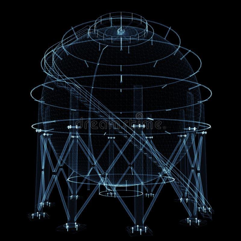 Sfärisk gasbehållare som består av lysande linjer och prickar royaltyfria bilder