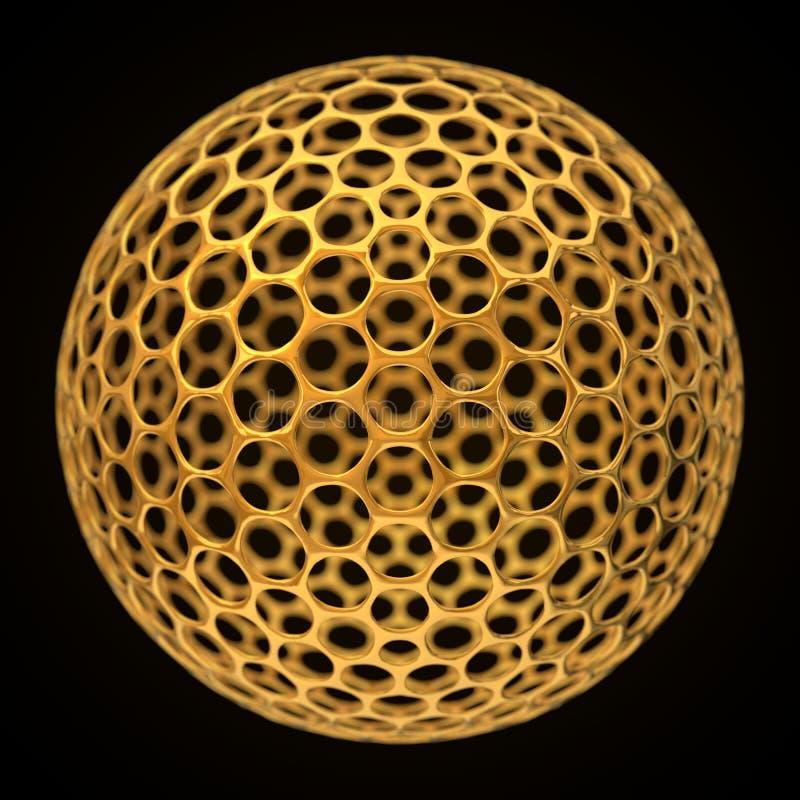Sfärisk graphenestruktur, guld- version royaltyfri illustrationer