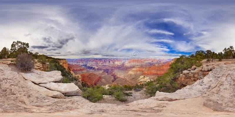 Sfärisk panorama av 360 grader Grand Canyon arkivfoto