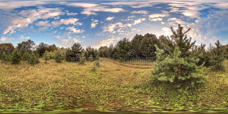 sfärisk panorama 3D med 360 grad visningvinkel Ordna till för virtuell verklighet i vr Full equirectangular projektion Soluppgång arkivbilder