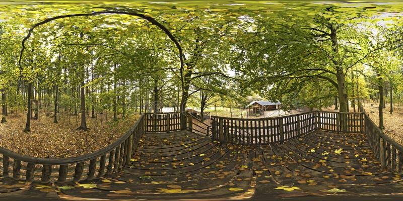 Sfärisk panorama 360 grader Wildpark Pong Germany arkivbilder