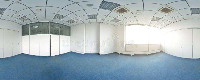 Sfäriska 360 grader panoramaprojektion, panorama i inre tömmer rum i moderna plana lägenheter royaltyfri bild