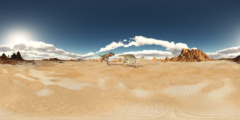 Sfäriska 360 grader sömlös panorama med dinosaurierna Nanotyrannus och Velafrons royaltyfri illustrationer