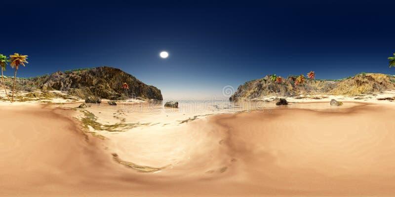 Sfäriska 360 grader sömlös panorama med ett kust- landskap stock illustrationer