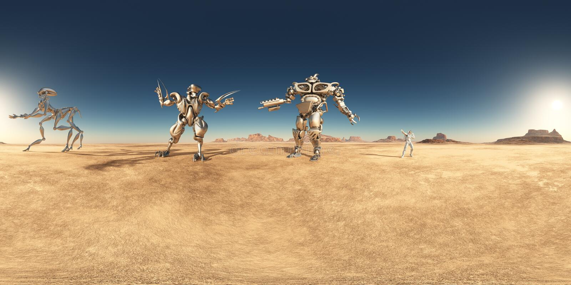 Sfäriska 360 grader sömlös panorama med robotar och astronautet i en öken stock illustrationer