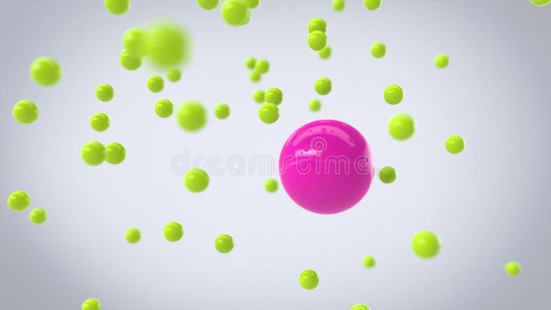Sfäriska partiklar för rosa färger och för gräsplan arkivfoton