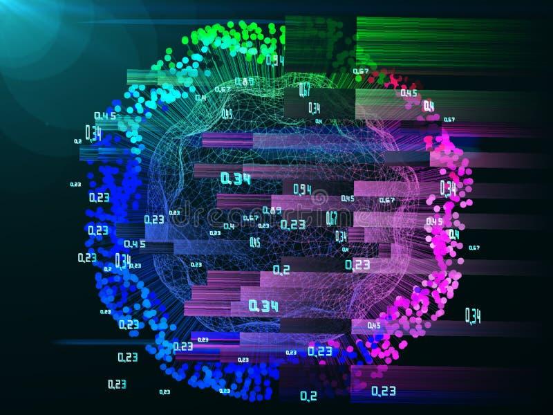 Sfäriskt infographic för abstrakt analys med prickar Stort datasfärbegrepp vektor illustrationer