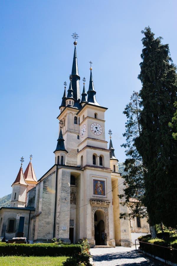 Sf 尼古拉(圣尼古拉斯)东正教外部 布拉索夫,特兰西瓦尼亚,罗马尼亚 著名旅游景点旅行目的地 免版税库存照片