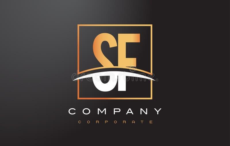 SF de Gouden Brief Logo Design van S F met Gouden Vierkant en Swoosh royalty-vrije illustratie