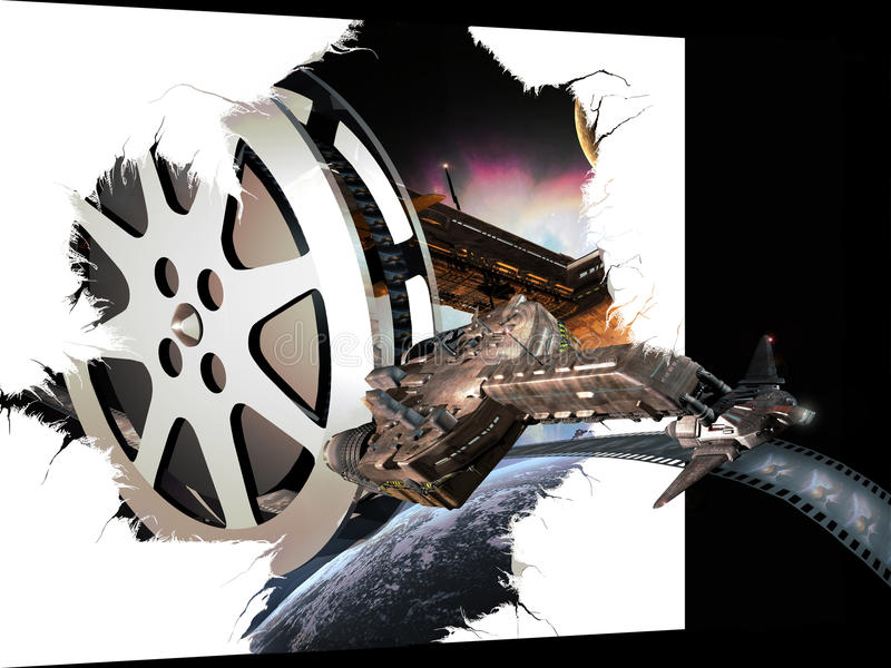SF/Fantasy 3D movie. A composition representing a film roll with images of a spaceship combat. The same spaceship rests on the film roll. The spaceship seems to vector illustration