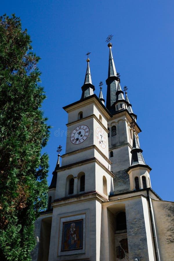 Sf Nicolae (St Nicholas) Ortodoksalnego kościół powierzchowność , Brasov, Transylvania, Rumunia Sławny atrakcji turystycznej podr zdjęcie royalty free