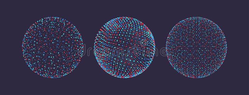 Sf?ren som best?r av punkter futuristisk stil f?r teknologi 3d ocks? vektor f?r coreldrawillustration vektor illustrationer