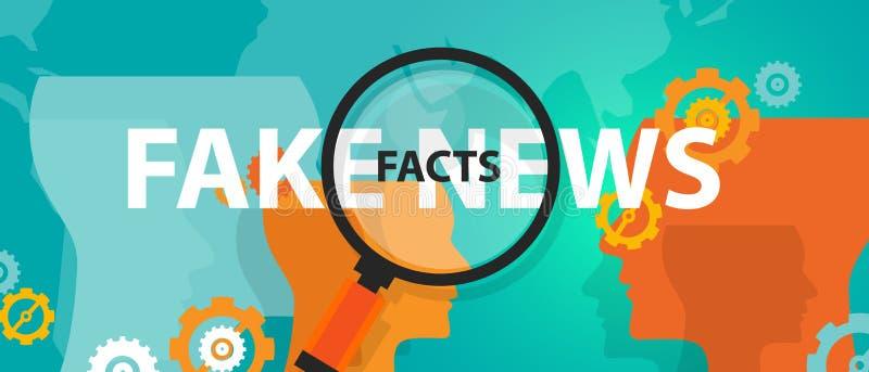 Sfałszowana wiadomość lub fact znaleziska prawdy prasy alternatywny problem online royalty ilustracja