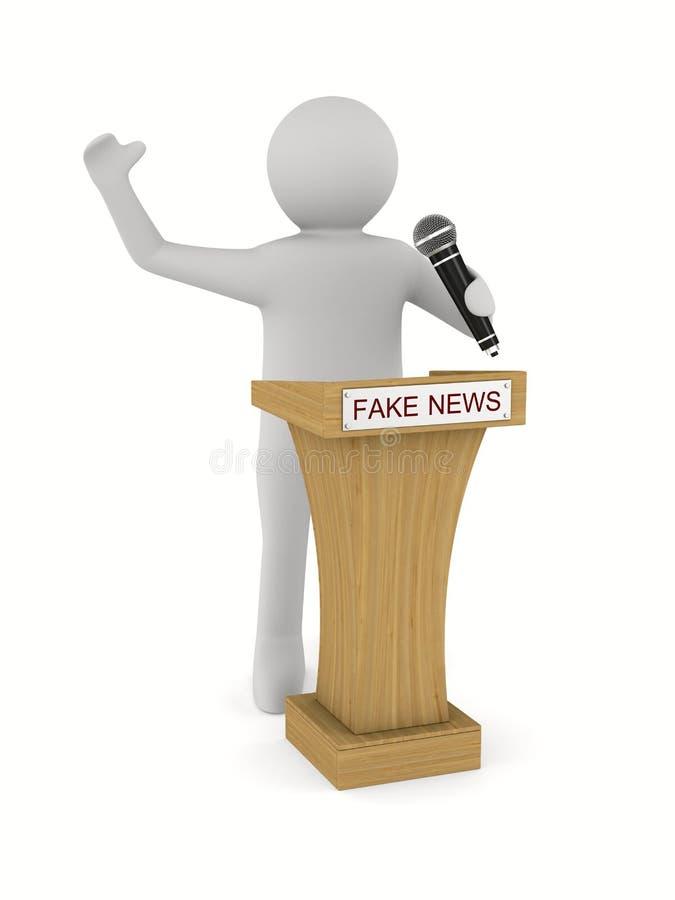 Sfałszowana wiadomość Mężczyzna mówi z mikrofonem na białym tle isola royalty ilustracja