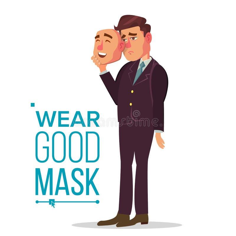 Sfałszowany osoba wektor Bad, Męczący mężczyzna Oszukiwa pojęcie Biznesmen odzieży uśmiechu maska Odosobniony Płaski postać z kre royalty ilustracja