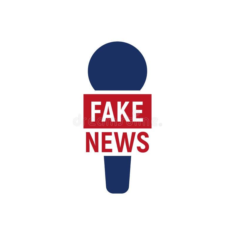 Sfałszowany wywiadu logo Abstrakcjonistyczny reportera microfon logo dla fałszywej transmisi, wektorowa ilustracja ilustracji