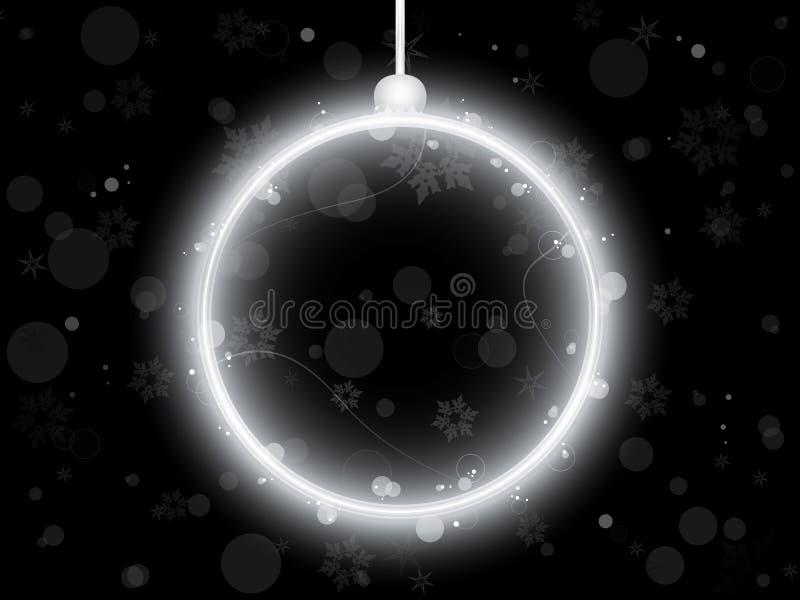 Sfera al neon d'argento di natale sul nero illustrazione vettoriale