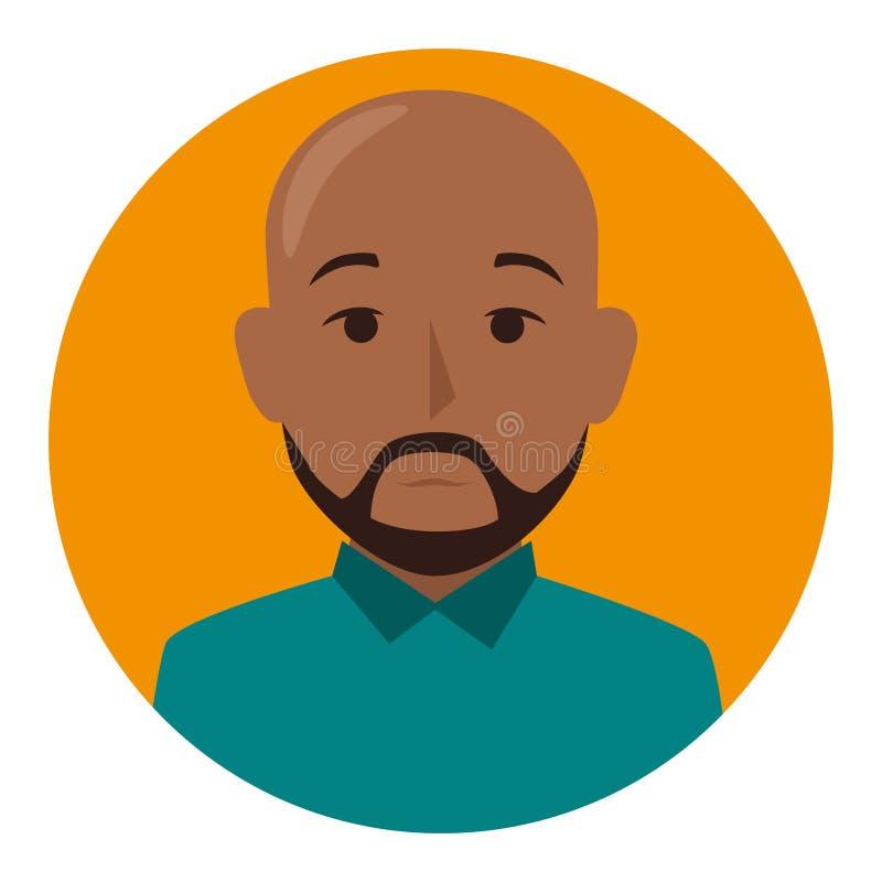 Sfera arancio dell'uomo calvo castana del mezzo ente con la barba royalty illustrazione gratis