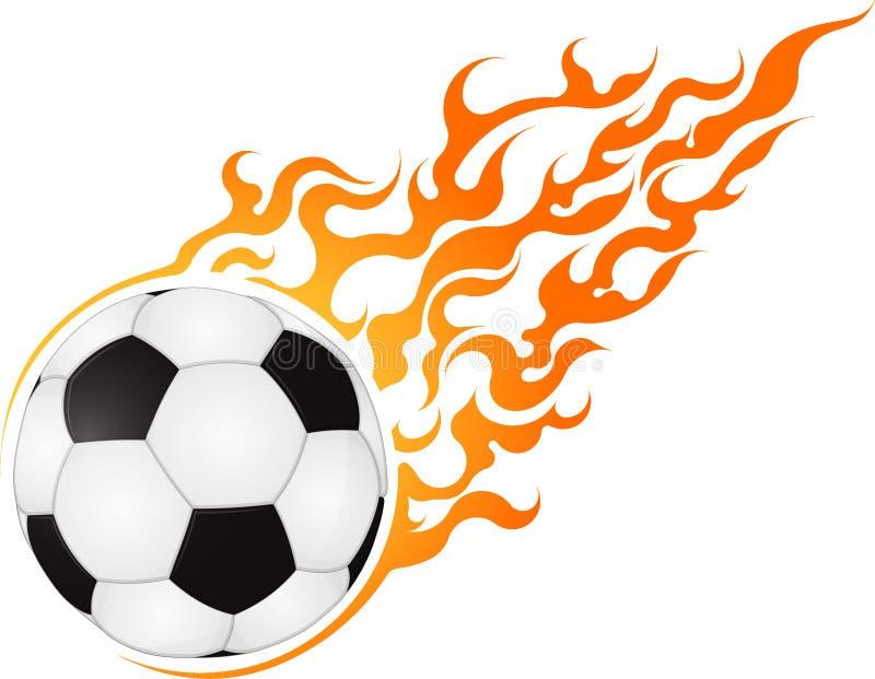 Sfera ardente Progettazione di calcio o di calcio per l'emblema o il logo illustrazione di stock