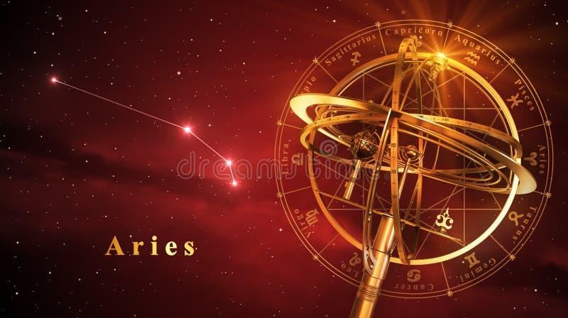 Sfera armillare e costellazione Aries Over Red Background illustrazione di stock