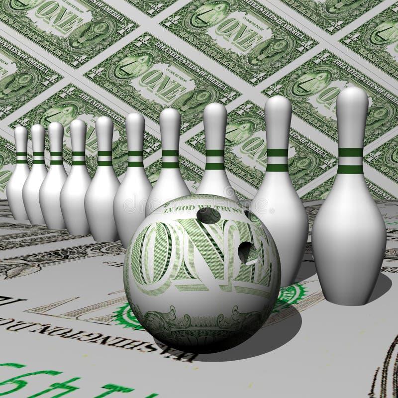 Sfera bianca del dollaro e di formato del bowling fotografia stock libera da diritti