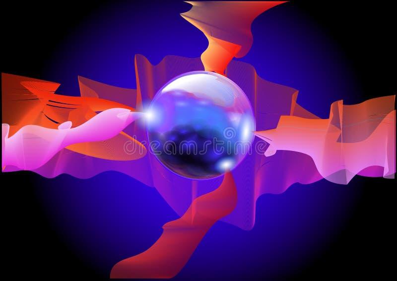 Sfera blu astratta illustrazione di stock