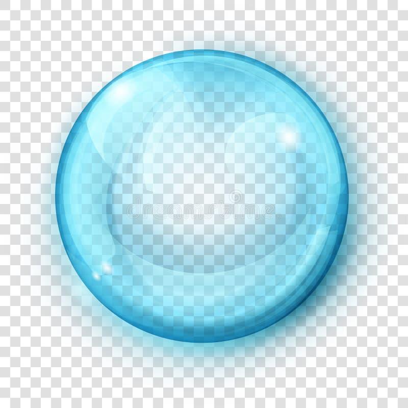 Sfera blu-chiaro trasparente illustrazione di stock