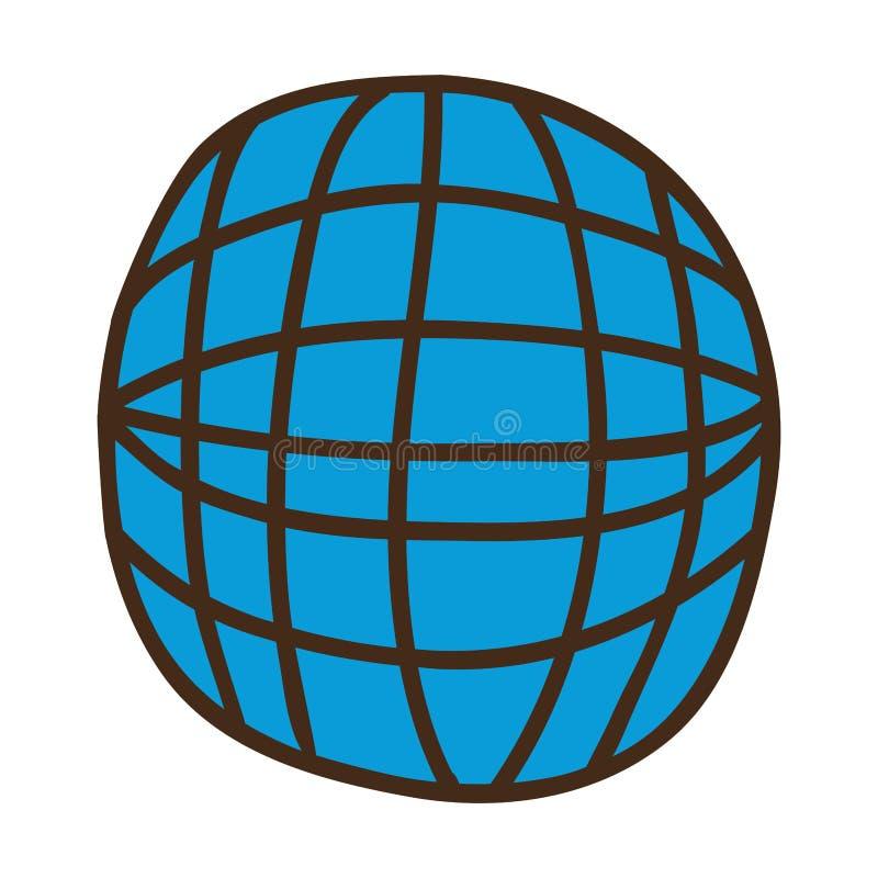 Sfera blu con i meridiani e la maglia illustrazione di stock