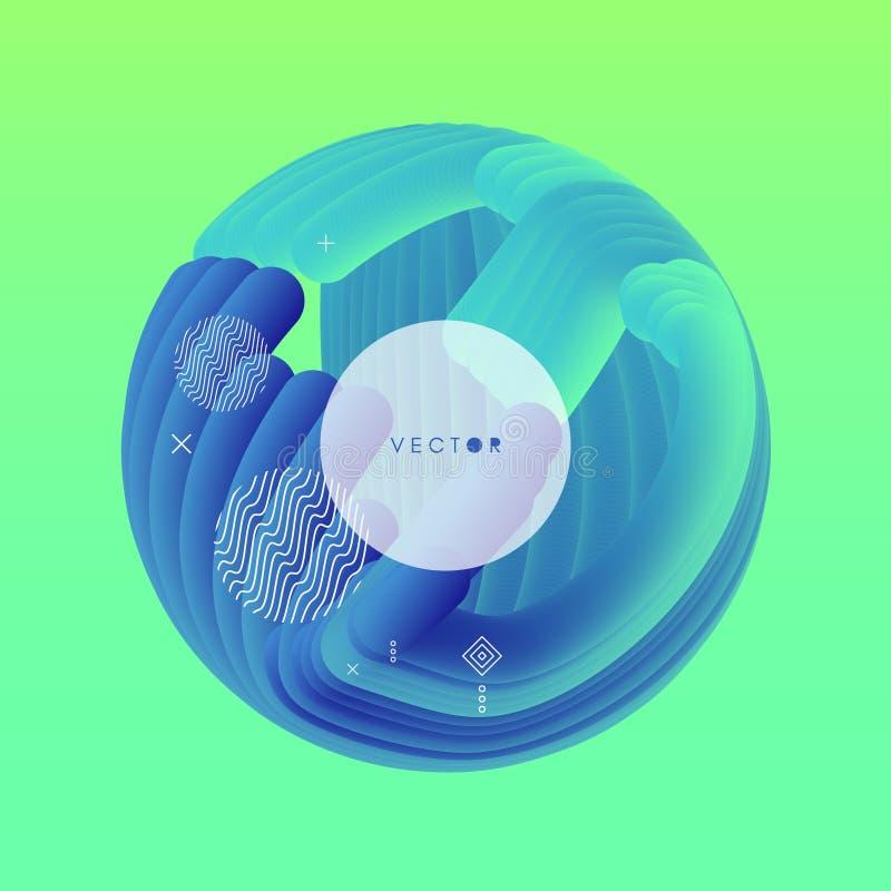 sfera 3D Abstrakcjonistyczna falista ilustracja z dynamicznym skutkiem royalty ilustracja