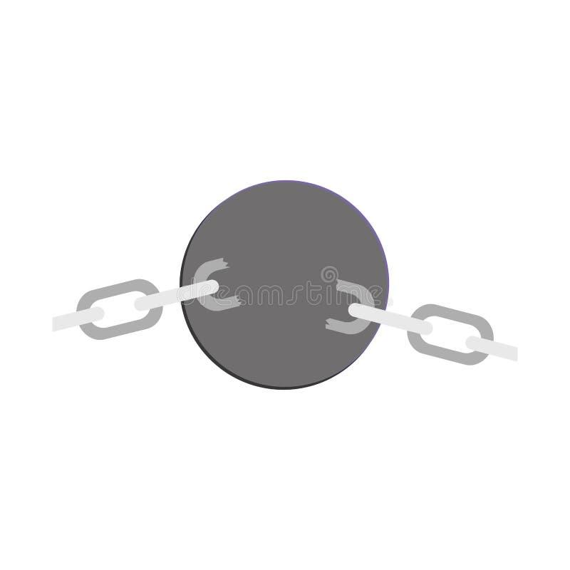 Sfera d'acciaio della siluetta con le catene illustrazione vettoriale