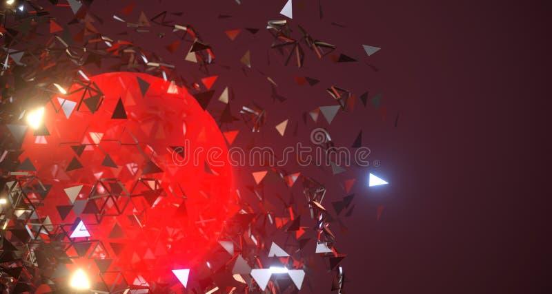 Sfera d'esplosione astratta del metallo con la rappresentazione d'ardore del centro 3D illustrazione di stock