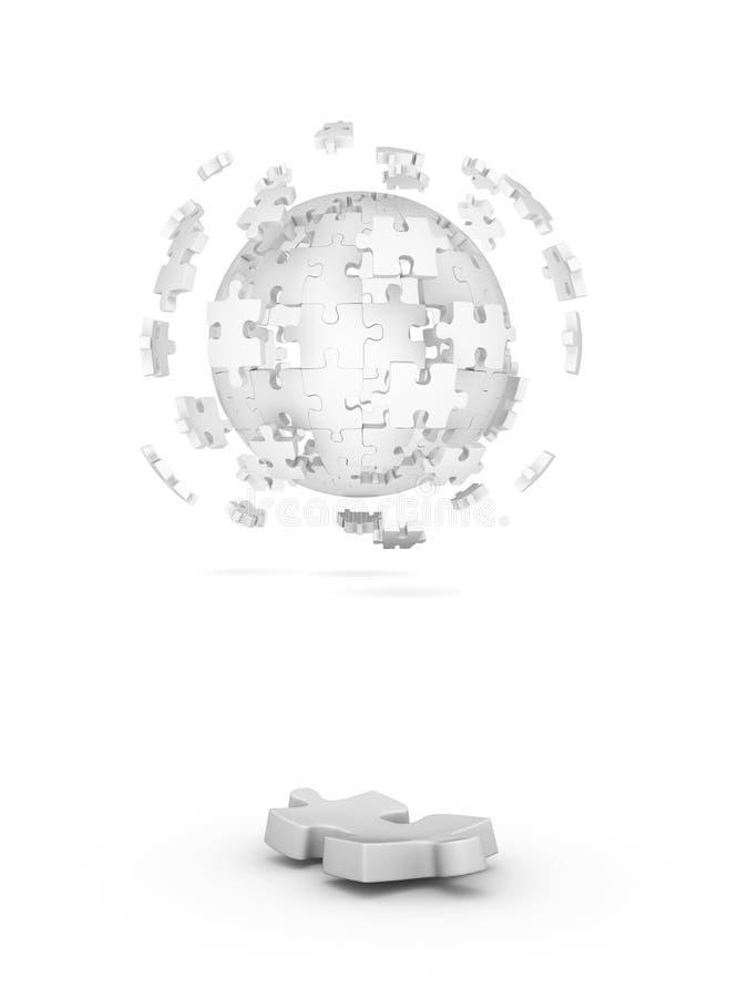 Sfera decomposta del puzzle e di un elemento illustrazione vettoriale