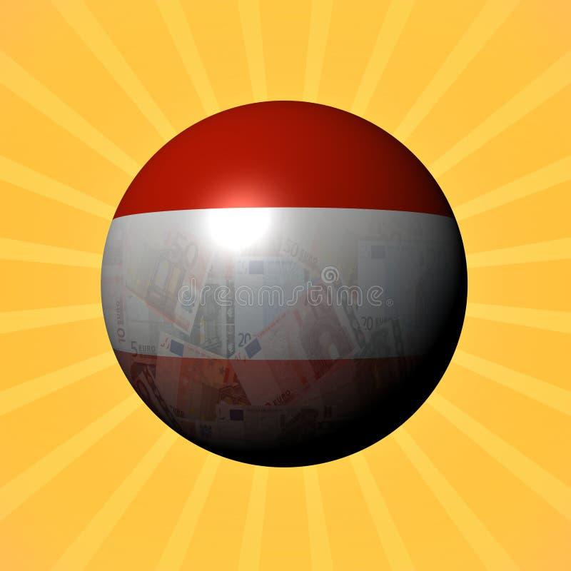 Sfera degli euro della bandiera dell'Austria sull'illustrazione dello sprazzo di sole royalty illustrazione gratis