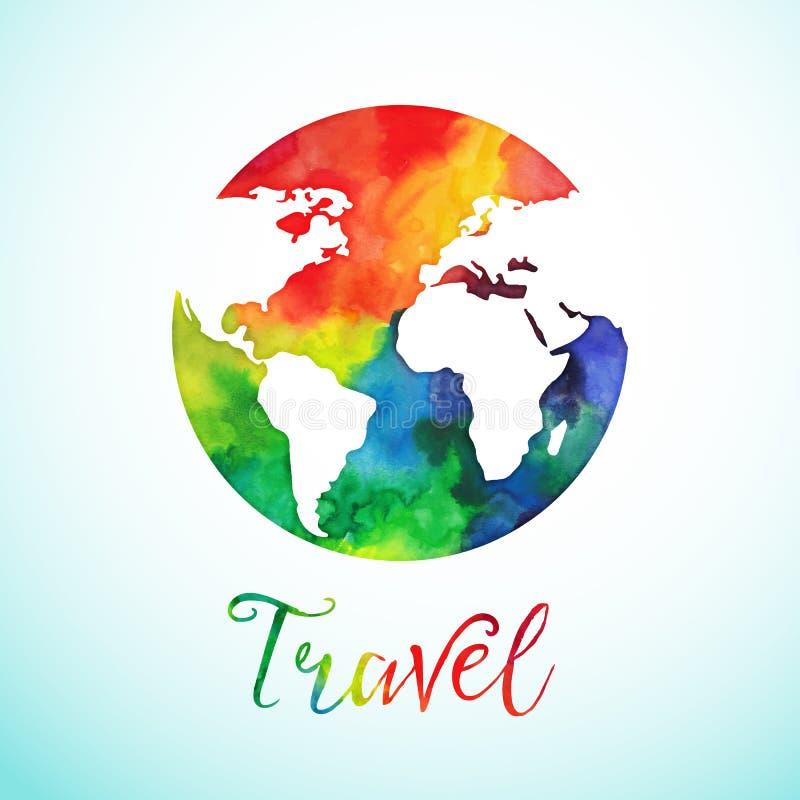 Sfera del globo dell'acquerello di vettore, progettazione della mappa Distintivo di calligrafia del fondo di viaggio royalty illustrazione gratis