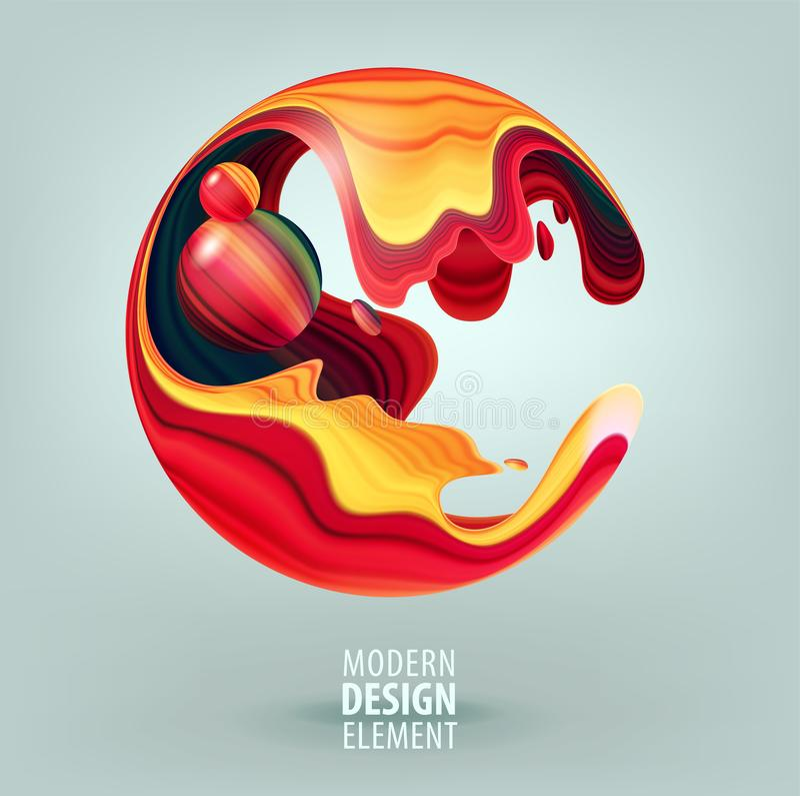 Sfera del grafico di computer decorata con i petali 3d e gli elementi di progettazione dentro Logo di vettore per la vostra proge illustrazione di stock