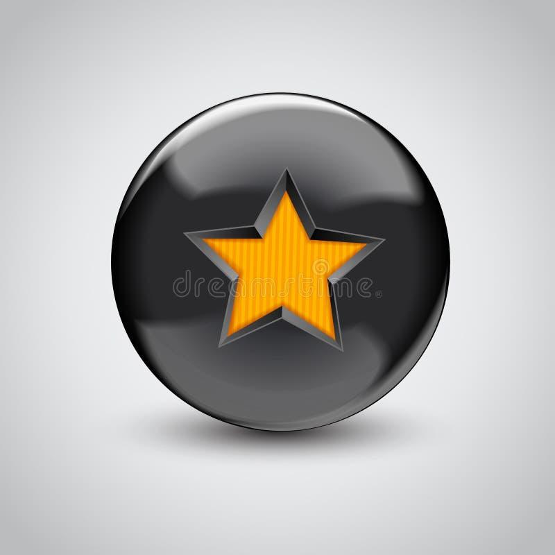 sfera del nero 3d con il simbolo della stella royalty illustrazione gratis