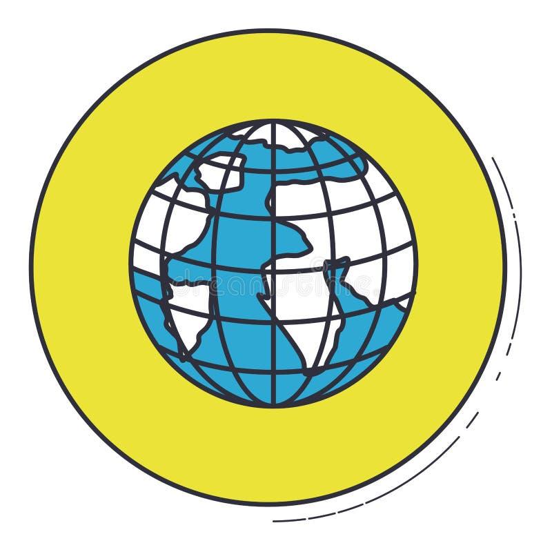 Sfera del pianeta dentro progettazione verde del bottone royalty illustrazione gratis