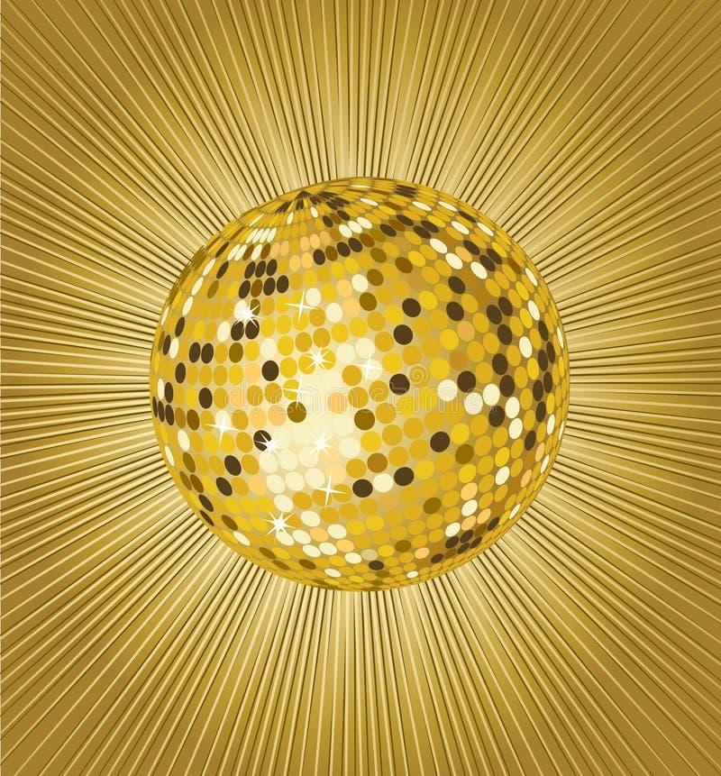 Sfera della discoteca dell'oro illustrazione vettoriale