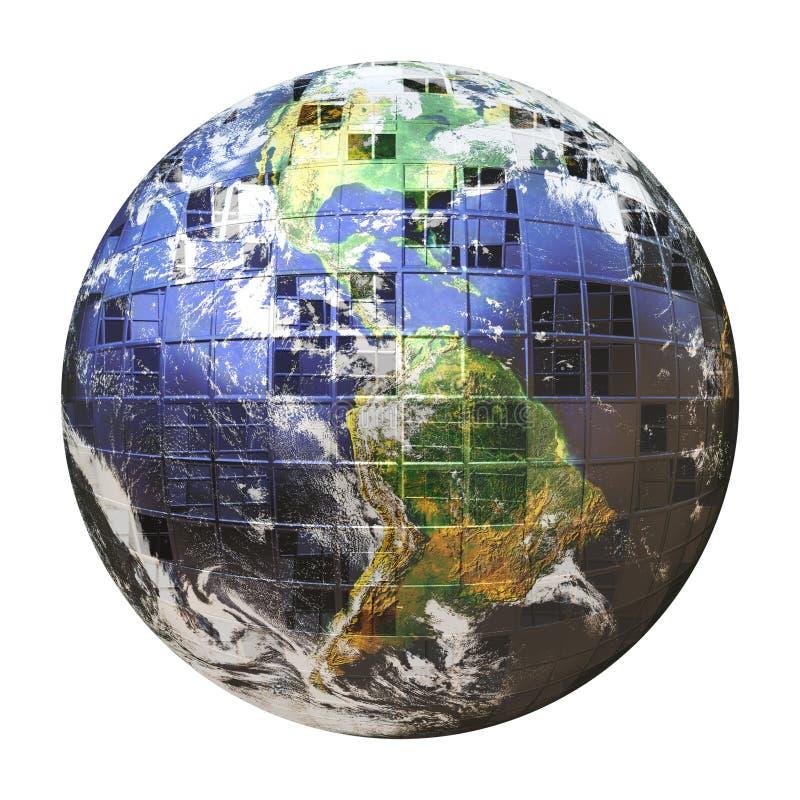 sfera della terra del blocco per grafici del collegare 3D illustrazione di stock