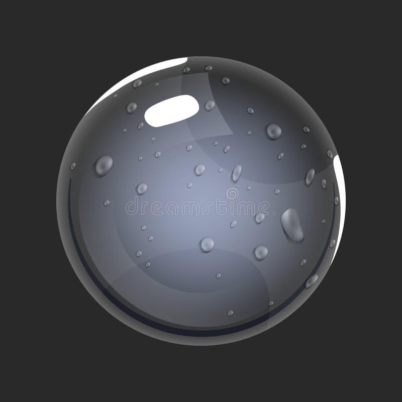 Sfera di aria Icona del gioco del globo magico Interfaccia per il gioco rpg o match3 Grande variante illustrazione di stock
