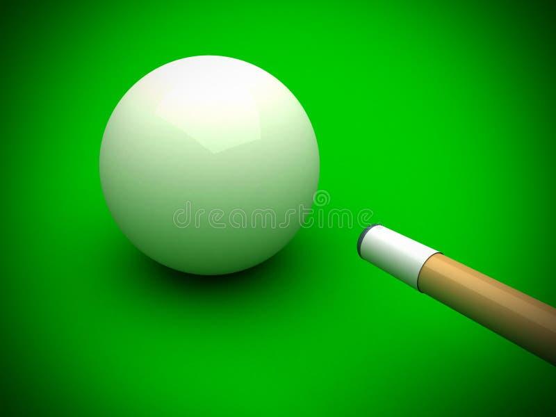 Sfera di biliardo bianca con il bastone sulla tabella di raggruppamento verde illustrazione vettoriale