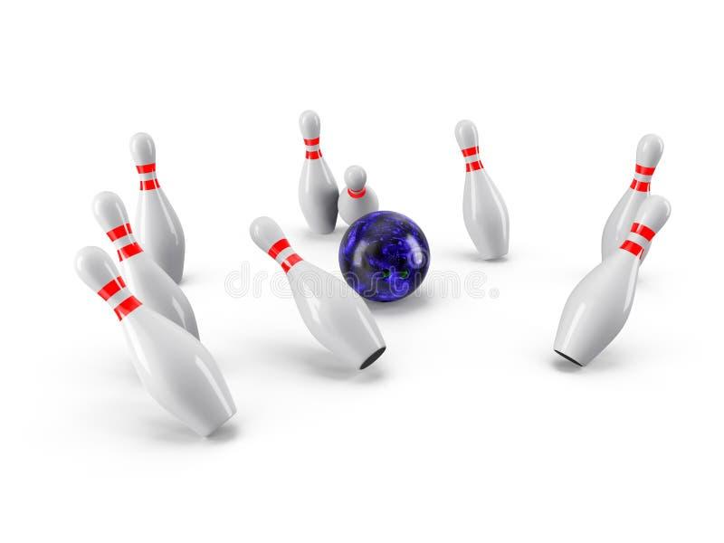 Sfera di bowling che si arresta nei perni rappresentazione 3d royalty illustrazione gratis