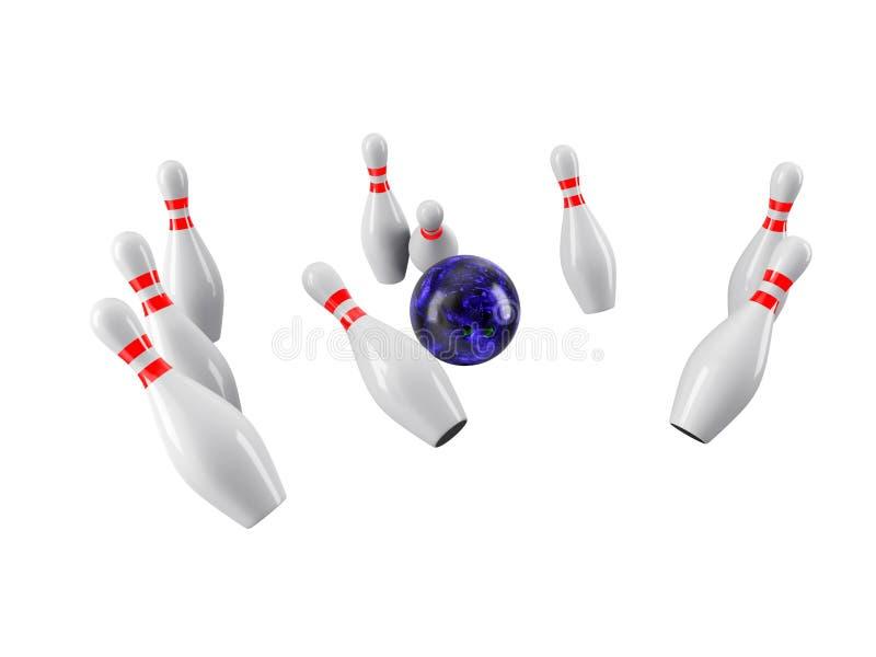 Sfera di bowling che si arresta nei perni rappresentazione 3d illustrazione di stock