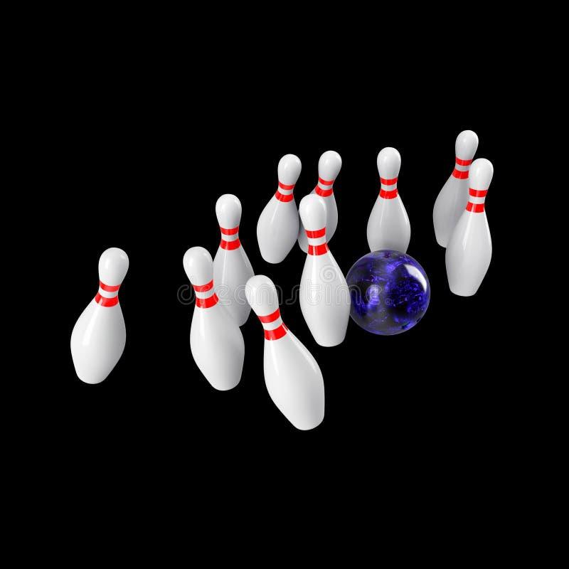 Sfera di bowling che si arresta nei perni rappresentazione 3d illustrazione vettoriale